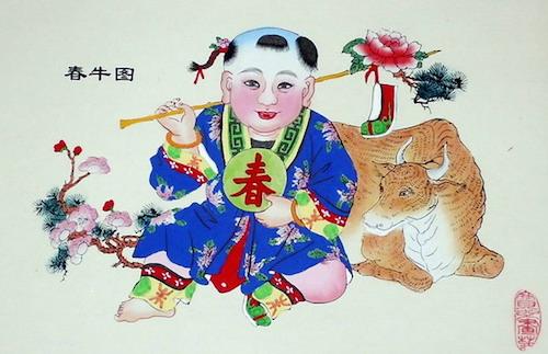 年画简笔画图片大全-传统中国节 年画 年画故事春牛图
